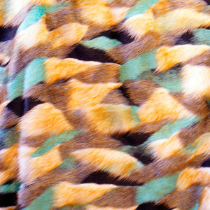 Multicolor Aqua Long Pile Faux Fur Fabric