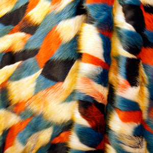 Multicolor Blue Long Pile Faux Fur Fabric