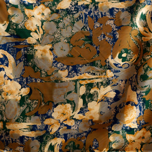 Blue and Bronze Floral Charmeuse 100% Silk Prints