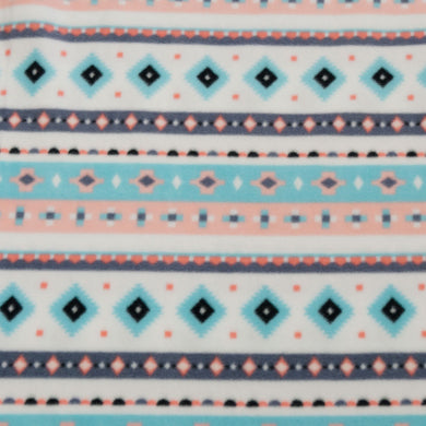 Baby Pink and Aqua Southwest Fleece Fabric