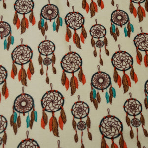 Dreamcatchers on Cream Southwest Fleece Fabric
