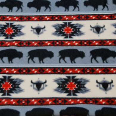Gray, White, and Red Buffalo Southwest Fleece Fabric