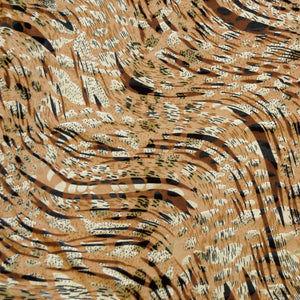 Silky Tan Cat Burnout Velvet Fabric by the Yard