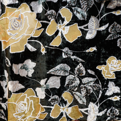 Black and Gold Rose Burnout Velvet Fabric - 100% silk
