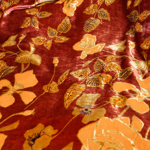 Orange Rose Burnout Velvet Fabric - 100% Silk