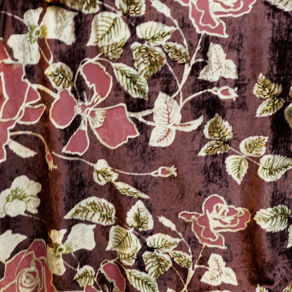 Dusty Rose Floral Burnout Velvet Fabric - 100% Silk