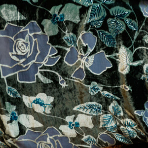 Blue Rose Burnout Velvet Fabric - 100% silk