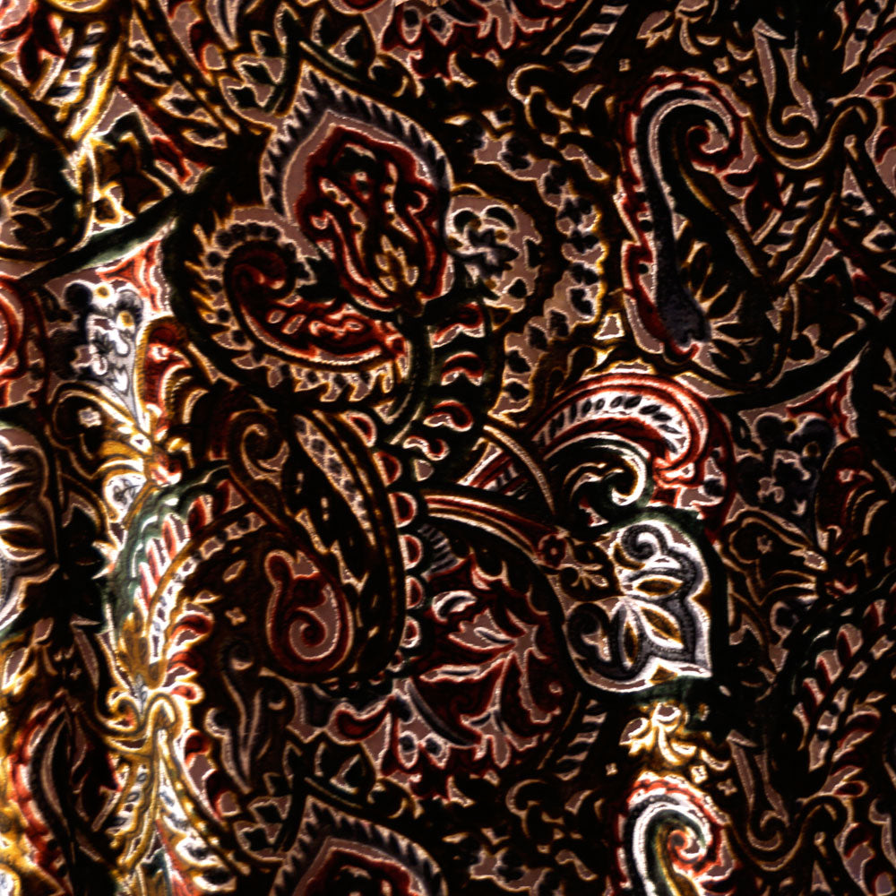 Multi-color Paisley Burnout Velvet Fabric - 100% silk