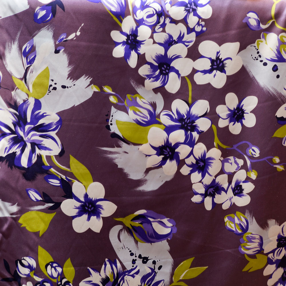Purple and White Blossom Charmeuse 100% Silk Prints