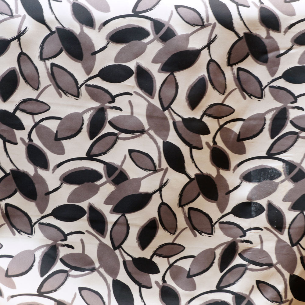 Gray Leaf Charmeuse 100% Silk Prints