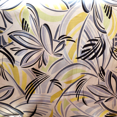 Yellow and Gray Floral Charmeuse 100% Silk Prints