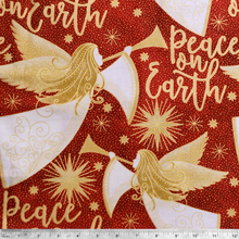 Angels Above Peace on Earth Metallic -  100% Cotton Fabric