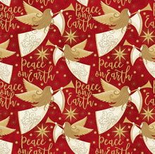 Angels Above Christmas Holiday Seasonal Metallic 100% Cotton Print