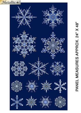 Artful Snowflake  Metallic Panel 100% Cottan Panel Fabric