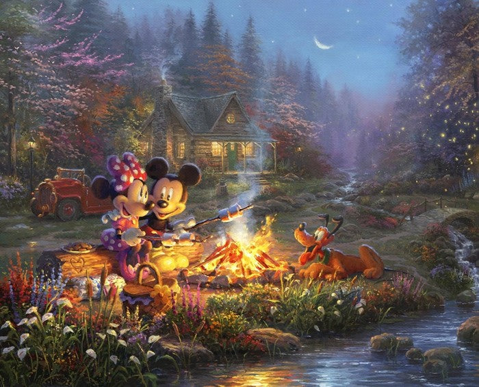 Mickey and Minnie Sweetheart Campfire Panel Quilting Digital Print 100% Cotton Fabric