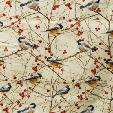 Fall Chickadees Seasonal Winter 100% Cotton Fabric