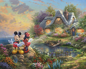 Mickey and Minnie Sweetheart Cove Panel Quilting Digital Print 100% Cotton Fabric