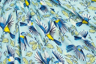 Marketa Stengl - Double Brushed Jersey Knit - Birds and Oak Leaves Yellow/Blue