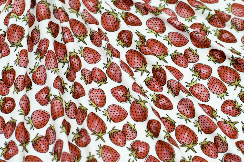 Marketa Stengl - Double Brushed Jersey Knit - Strawberries