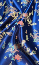Chinese Dragon Satin Brocade Fabric - Royal Blue