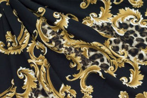 Double Brushed Jersey Knit - Animal Print/Scrolls