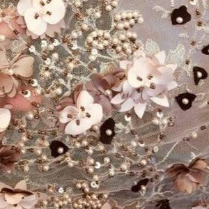 Hand Beaded 3D  Lasercut French Lace Fabric