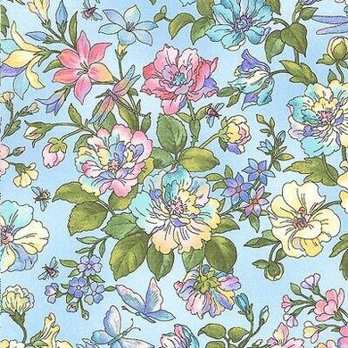 Graceful Garden Blue- 100% Cotton