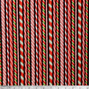 Holly Jolly Christmas Candy Cane Print Robert Kaufman 100% Cotton Fabric