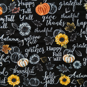 Happy Fall Y'all Thanksgiving Holiday 100% Cotton Fabric