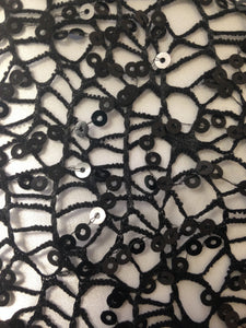 Black Crochet Sequined Lace Fabric