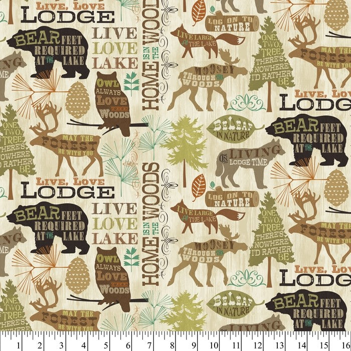 Live Lodge Love Nature Outdoor Forest 100% Cotton Quilting Fabric