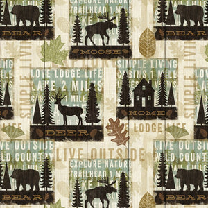 Lodge Simple Living Nature Outdoor Forest 100% Cotton Quilting Fabric