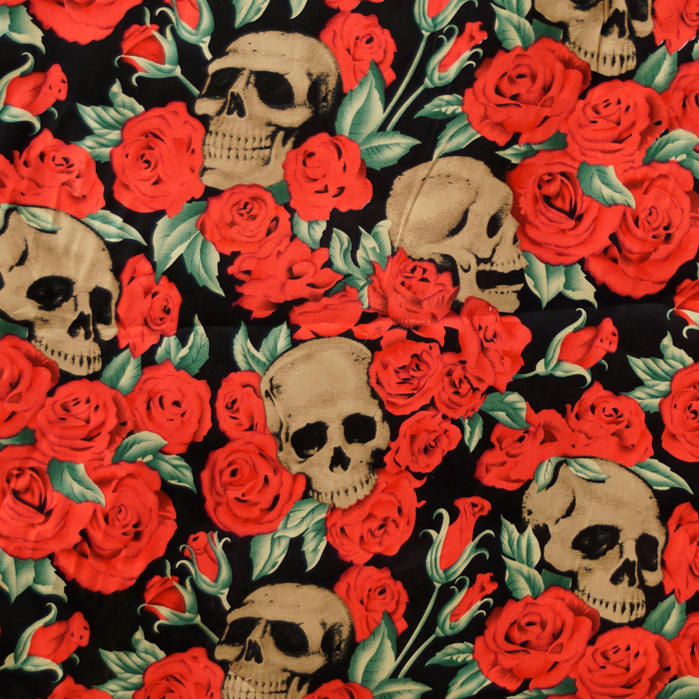 Mixed Skulls and Roses 100% Cotton Fabric