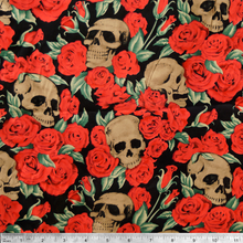 Mixed Roses and Skulls- Digitally Printed 100% Cotton Fabric