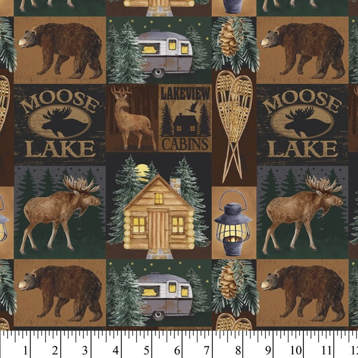 Moose Lake Nature Outdoor Forest 100% Cotton Quilting Fabric