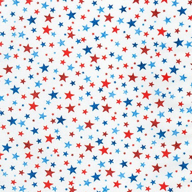 Novelty Cotton - RWB Stars/White - Patriotic