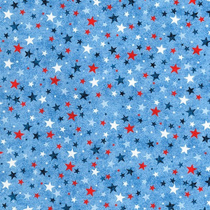 Novelty Cotton - RWB Stars/Lt Blue - Patriotic