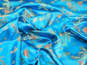 Chinese Dragon Satin Brocade Fabric - Turquoise