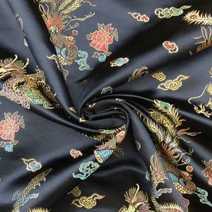 Chinese Dragon Satin Brocade Fabric - Black
