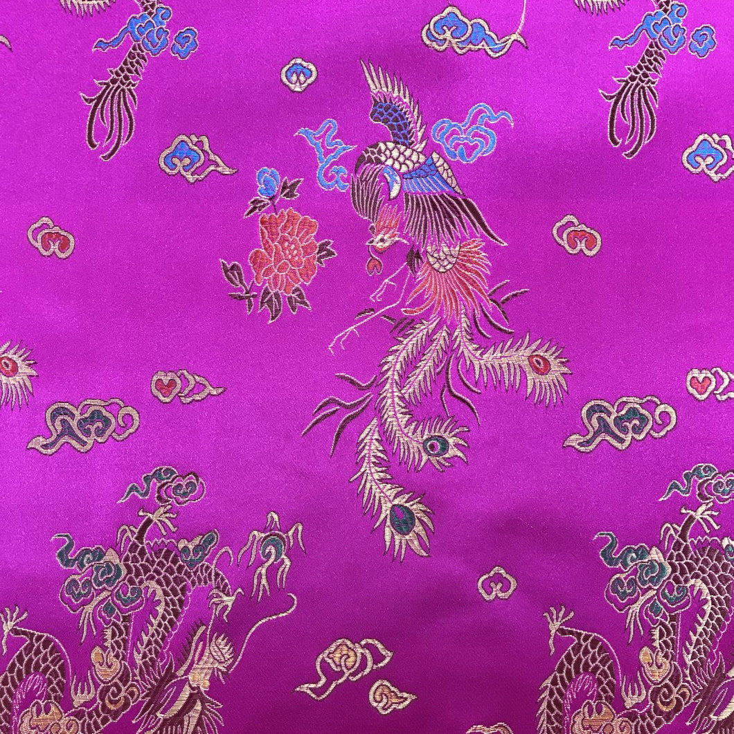 Chinese Dragon Satin Brocade Fabric - Cerise