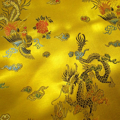 Chinese Dragon Satin Brocade Fabric - Yellow