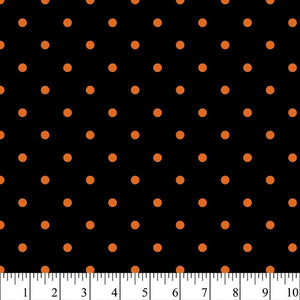 Halloween - Dots Black/Orange 100% Cotton