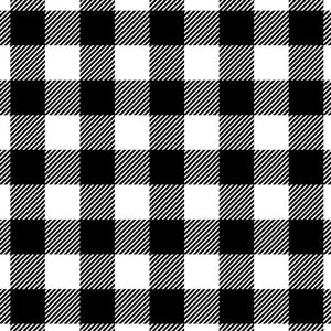 Buffalo Plaid White and Black - Large Square Plaid Flannel 100% Cotton Fabric