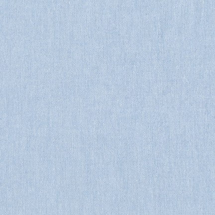 Chambray Cotton Blend Fabric - Light Blue