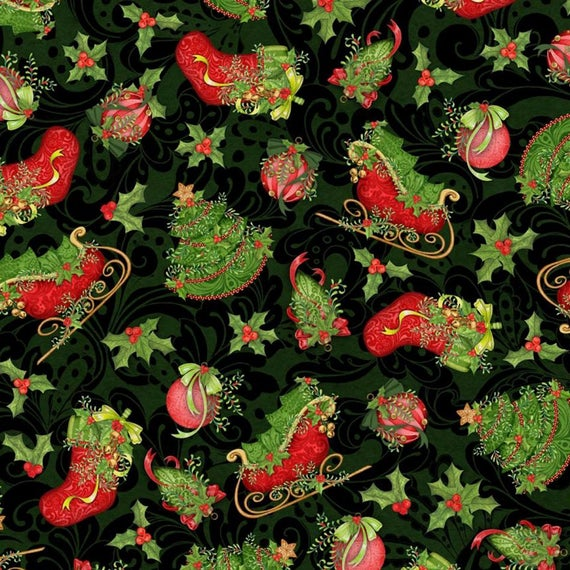 Christmas Holly Vines 100% Cotton