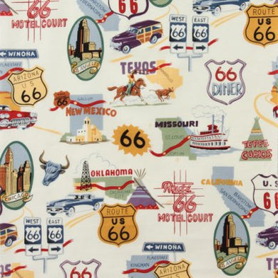 Route 66 on White - Alexander Henry Collection 100% Cotton Fabric