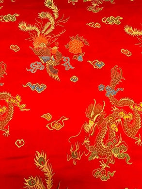 Chinese Dragon Satin Brocade Fabric - Red
