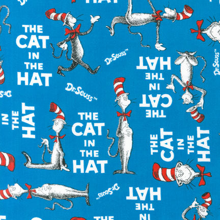 Novelty Cotton - Dr Seuss - The Cat in the Hat/Blue
