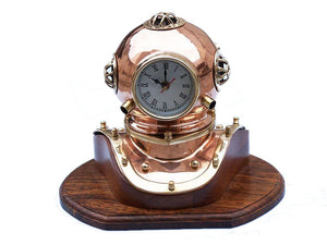 Clock | Copper Vintage Divers Helmet Quartz 12""