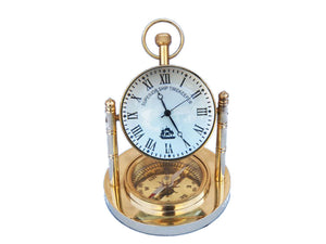 Clock | Solid Brass with Compass 5""